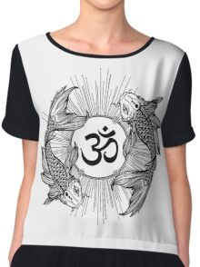 Koi carp holding a shining Ohm sign Chiffon Top