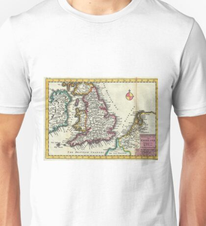 Vintage Map of England (1747) Unisex T-Shirt