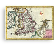 Vintage Map of England (1747) Canvas Print