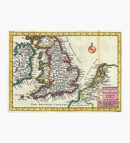 Vintage Map of England (1747) Photographic Print