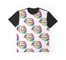 Sexy fatal biting lips in gay pride colors seamless pattern Graphic T-Shirt