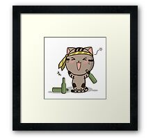 Drunk cat  Framed Print