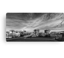 Caerphilly Castle Panorama Monochrome Canvas Print