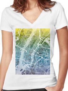 New York City Street Map Women's Fitted V-Neck T-Shirt