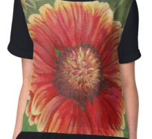 Red and Yellow Gaillardia Flower Chiffon Top