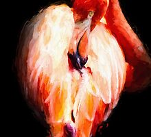 Flamingo On Black by PatiDesigns