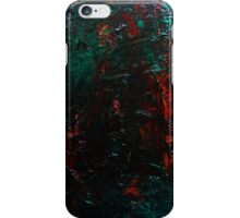 Abstract Green Orange Drip Painting Acrylic On Canvas Board iPhone Case/Skin