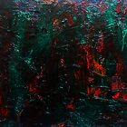 Abstract Green Orange Drip Painting Acrylic On Canvas Board by JamesPeart