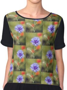 Cornflower and Poppies Chiffon Top