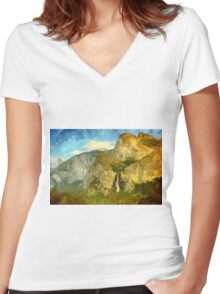 A scenic view of Yosemite National Park Women's Fitted V-Neck T-Shirt
