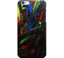 Abstract Yellow Red Blue Drip Painting Acrylic On Canvas Board iPhone Case/Skin