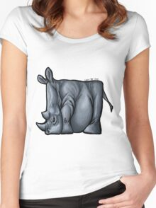 Rhino Squared Print Women's Fitted Scoop T-Shirt