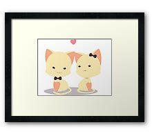 Couple cat for valentine Framed Print