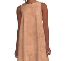Sandstone Oil Pastel Color Accent A-Line Dress