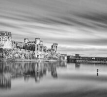 Caerphilly Castle Monochrome Sticker
