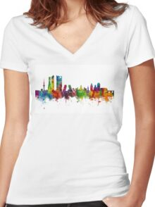 Madrid Spain Skyline Women's Fitted V-Neck T-Shirt