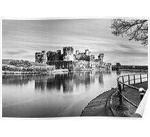 Caerphilly Castle Monochrome Poster