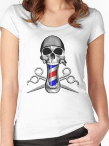 Barber Skull and Scissors Women's Fitted Scoop T-Shirt