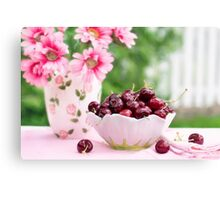 cherries in a bowl Canvas Print