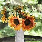 Vase of Sunflowers and Queen Anne's Lace by Eileen McVey