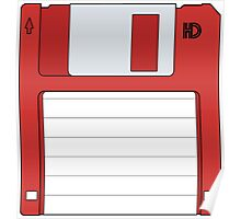 "3.5"" HD Floppy Disc (Red)  Poster"