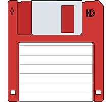 """3.5"""" HD Floppy Disc (Red)  Photographic Print"""