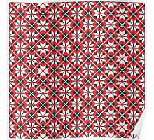 Red and black seamless cross-stitch pattern Poster