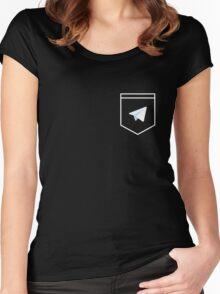 Telegram logo pocket shirt Women's Fitted Scoop T-Shirt