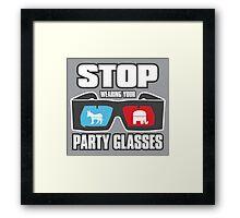 Stop Party Glasses - Democrats & Republicans Framed Print