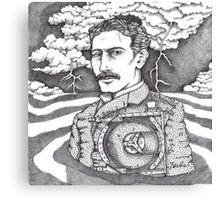 Tesla and His Bladeless Turbine Canvas Print