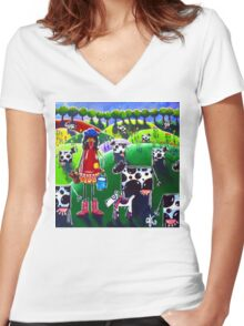 Moo Cow Farm Women's Fitted V-Neck T-Shirt