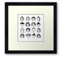 Set of cute girl characters, cartoon Framed Print