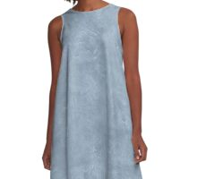 Dusty Blue Oil Pastel Color Accent A-Line Dress