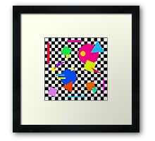 Retro Shapes On Black & White Check - 80s 80's 1980s 1980's 1980 Classic Throw Back Framed Print