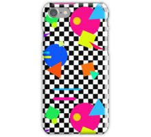 Retro Shapes On Black & White Check - 80s 80's 1980s 1980's 1980 Classic Throw Back iPhone Case/Skin