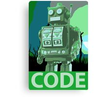 CODE Green Robot Canvas Print