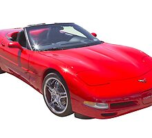 Red C5 Corvette convertible Muscle Car by KWJphotoart