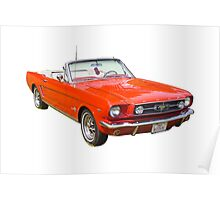 1965 Red Ford Mustang Convertible Poster
