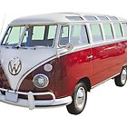 Red And White VW 21 window Mini Bus by KWJphotoart