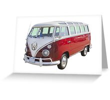 Red And White VW 21 window Mini Bus Greeting Card