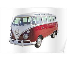 Red And White VW 21 window Mini Bus Poster