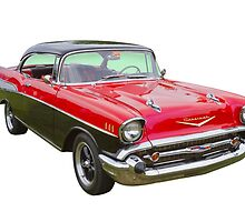 Red and Black 1957 Chevy Belair by KWJphotoart