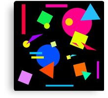 Coloured Retro (Small) Shapes  - Black - 80s 80's 1980s 1980's 1980 Classic Throw Back Canvas Print