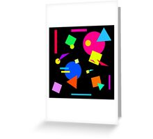 Coloured Retro (Small) Shapes  - Black - 80s 80's 1980s 1980's 1980 Classic Throw Back Greeting Card