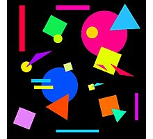 Coloured Retro (Small) Shapes  - Black - 80s 80's 1980s 1980's 1980 Classic Throw Back Photographic Print