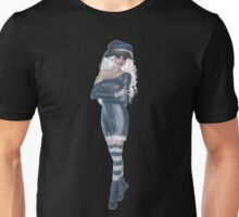 Blond Woman Wearing Blue Navy Hat, Dress, Socks and Shoes Unisex T-Shirt