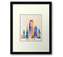Austin landmarks watercolor poster Framed Print