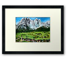 Tyrol Austrian Mountains Europe Landscape Contemporary Acrylic Painting Framed Print