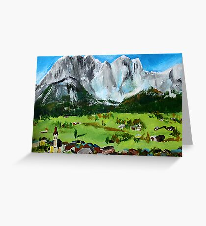 Tyrol Austrian Mountains Europe Landscape Contemporary Acrylic Painting Greeting Card