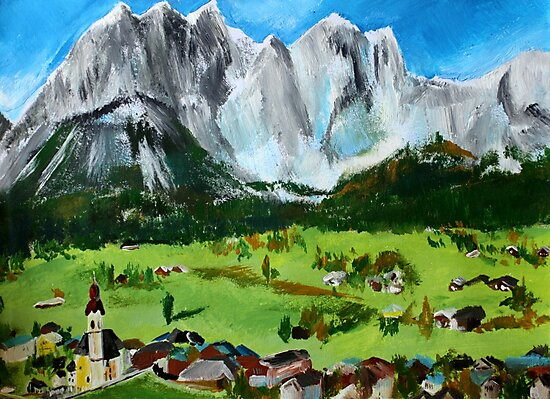 Tyrol Austrian Mountains Europe Landscape Contemporary Acrylic Painting by JamesPeart